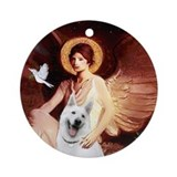 Angel 1 - White German Shepherd Ornament (Round)
