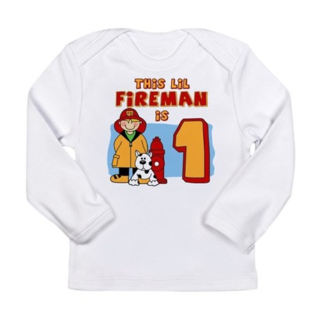 Fireman First Birthday Long Sleeve Infant T-Shirt