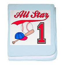 AllStar Baseball First Birthd Infant Blanket