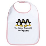 One by one, the penguins.. Bib