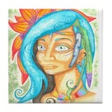 Cute Shamanic tattooing Tile Coaster