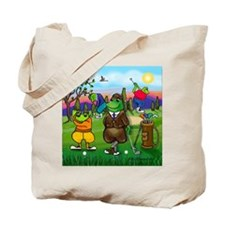 Golfing Frogs Tote Bag