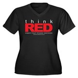 Think Red Women's Plus Size V-Neck Dark T-Shirt