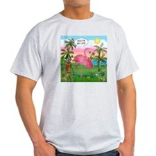 Golfing flamingo Ash Grey T-Shirt