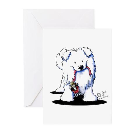 Penguin Sled Samoyed Greeting Cards (Pk of 10)