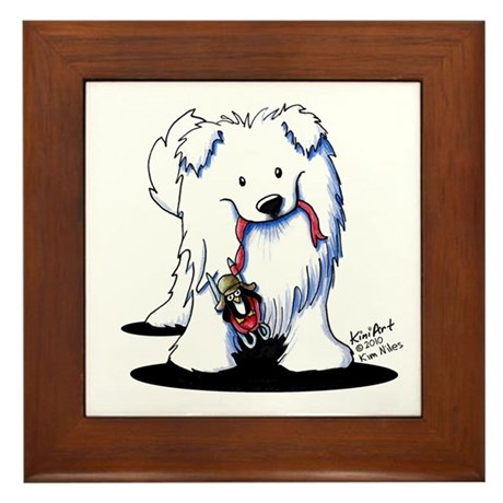 Penguin Sled Samoyed Framed Tile