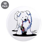 "Penguin Sled Samoyed 3.5"" Button (10 pack)"