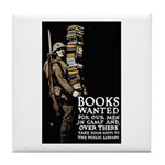 Books Wanted Poster Art Tile Coaster