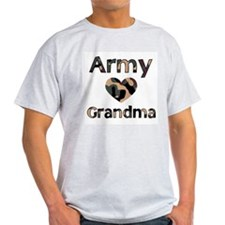 Army Grandma Heart Camo Ash Grey T-Shirt