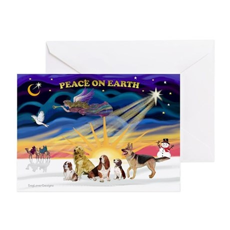 Xmas Sunrise - Five Dogs Greeting Cards (Pk of 10)