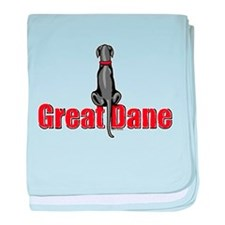 Black Great Dane UC Fence Sit Infant Blanket