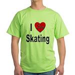I Love Skating (Front) Green T-Shirt