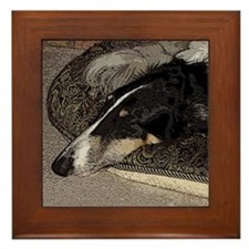 Sleeping Borzoi Framed Tile