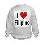 I Love Filipino (Front) Kids Sweatshirt
