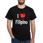 I Love Filipino (Front) Black T-Shirt