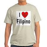 I Love Filipino (Front) Ash Grey T-Shirt