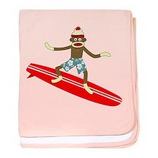 Sock Monkey Longboard Surfer Infant Blanket