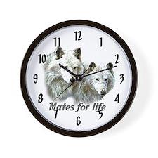 """""""Wolf Mates"""" Wall Clock"""