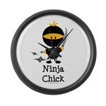 Ninja Chick Large Wall Clock