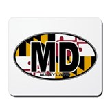 Maryland MD Oval (w/flag) Mousepad