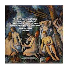 Cezanne Landscape Nude Tile Coaster