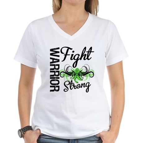 WarriorNonHodgkinsLymphoma Women's V-Neck T-Shirt