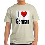I Love German (Front) Ash Grey T-Shirt