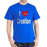 I Love Croatian (Front) Black T-Shirt