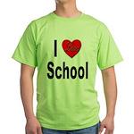 I Love School (Front) Green T-Shirt