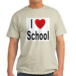 I Love School (Front) Ash Grey T-Shirt