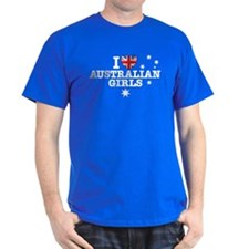 I Love Australian Girls Black T-Shirt