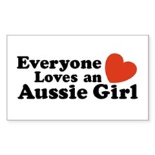 Everyone Loves an Aussie Girl Sticker (Rectangular