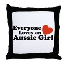 Everyone Loves an Aussie Girl Throw Pillow