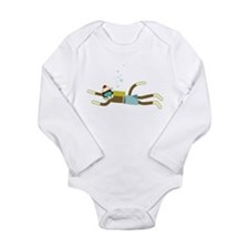 Sock Monkey Scuba Diver Long Sleeve Baby Bodysuit