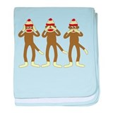 No Evil Sock Monkeys Infant Blanket