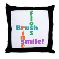 Brush Floss Rinse Smile Throw Pillow