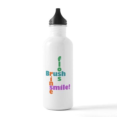 Brush Floss Rinse Smile Stainless Water Bottle 1.0