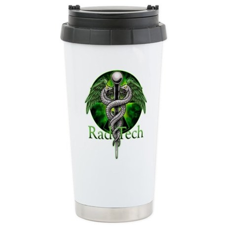 Rad Tech Caduceus Green Ceramic Travel Mug
