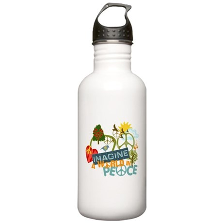Rainbow Peace Abtract Art Stainless Water Bottle 1
