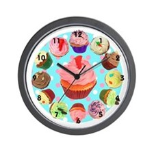 Polka Dot Cupcake Wall Clock