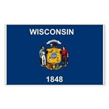 Wisconsin Flag Rectangle Bumper Stickers