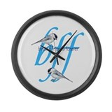 birding friends forever Large Wall Clock