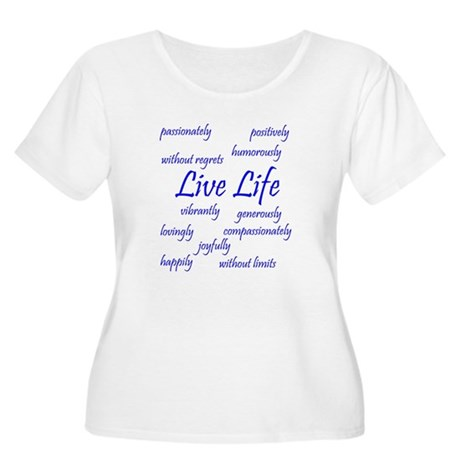 Live Life Women's Plus Size Scoop Neck T-Shirt