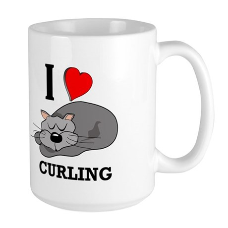 Curling Kitty Large Mug