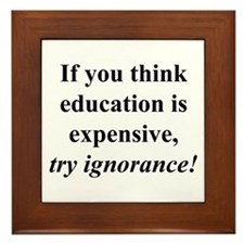 Education quote (black) Framed Tile