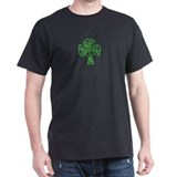 Black T-Shirt with a shocking green cloverleaf