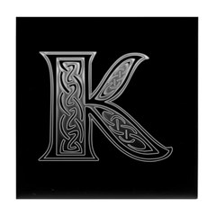 K Monogram Celtic Silver Tile Coaster