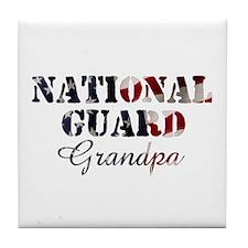 National Guard Grandpa Flag Tile Coaster