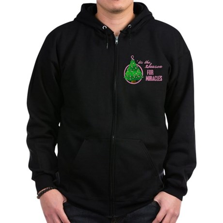 BreastCancer XmasMiracle Zip Hoodie (dark)