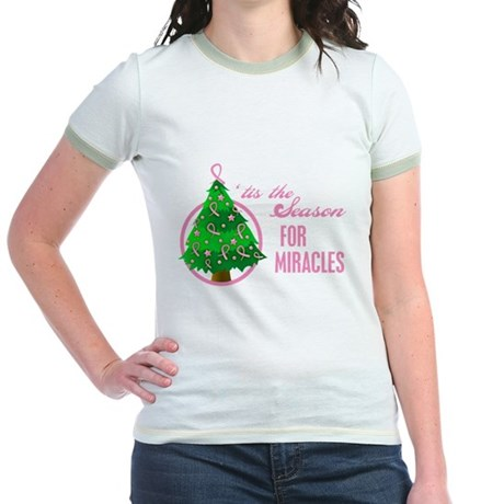 BreastCancer XmasMiracle Jr. Ringer T-Shirt